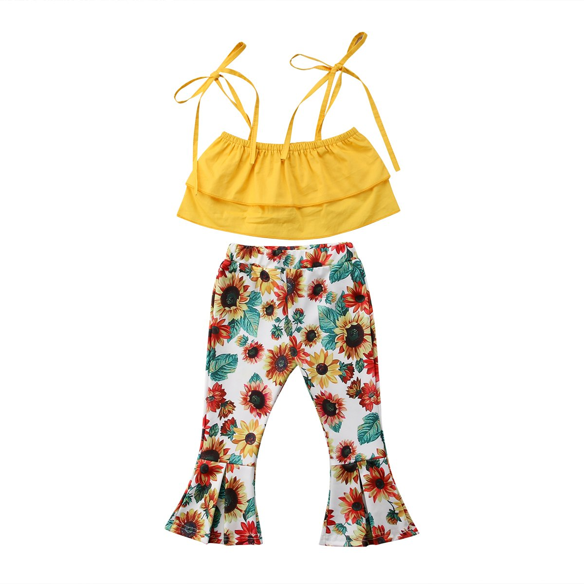 BELS Summer Baby Girls Halter Yellow Floral Romper + Sunflower Houndstooth Bell-Bottom Flared Ruffles Pants(Multi, 4T)