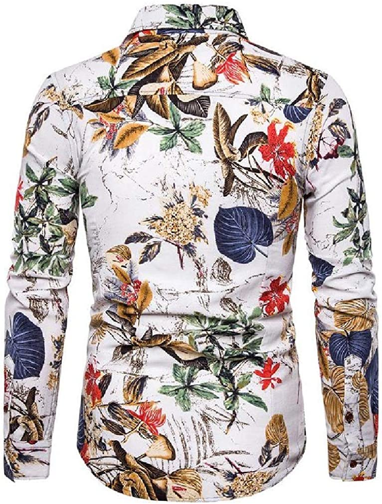 Coolred-Men Autumn Long-Sleeve Plus Size Single Breasted Woven Shirt