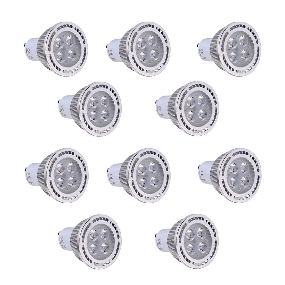 GS-Bulb GU10 4W SMD 3030 300-400 LM Warm White/Cool White Clear LED Spotlight AC 85-265V AC 220-240V AC 110-130V (10Pcs) (Color : Cool White, Size : 85-265V)