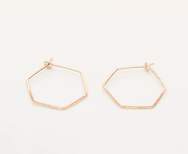 Hexagon Earrings Gold Filled Geometric Classic Minimalist Hoops by Amazon