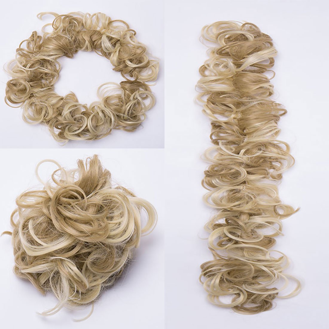 Hair Extensions Hairpiece Hair Wrap Scrunchie Scrunchy Updos VOLUMINOUS Curly Messy Bun Light Blonde mix Ash Blonde Rich Choices