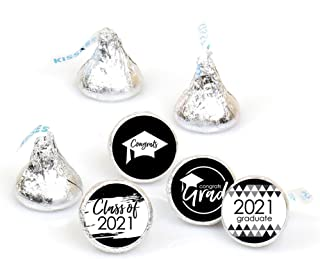 product image for Big Dot of Happiness Black and White Grad - Best is Yet to Come - Black and White 2021 Graduation Party Round Candy Sticker Favors - Labels Fit Hershey's Kisses (1 Sheet of 108)
