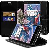 Oneplus 3 / Oneplus 3T Hülle, Profer [Premium Leder Serie] Schutzhülle PU Leder Flip Tasche mit Integrierten Kartensteckplätzen und Ständer für Oneplus 3 / Oneplus 3T (Leder-Schwarz)