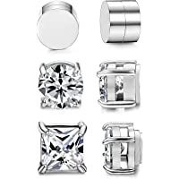 BESTEEL 3 Pairs Stainless Steel Magnetic Earrings for Men Women Studs Earrings Clip Cubic Zirconia Non Piercing 6-8MM