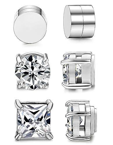 ba77b17a4 BESTEEL 3 Pairs Stainless Steel Magnetic Earrings for Men Women Studs  Earrings Clip Cubic Zirconia Non Piercing 6MM: Amazon.co.uk: Jewellery
