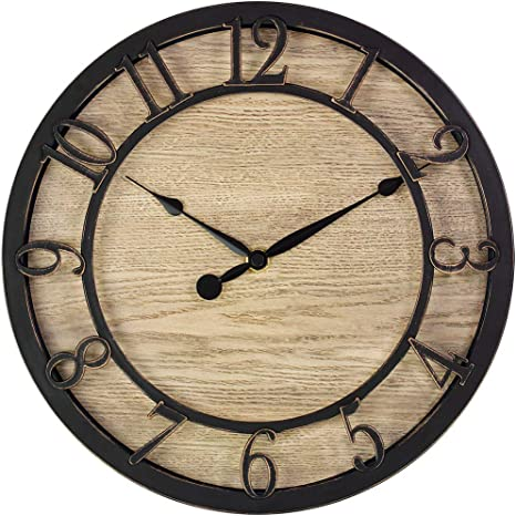 Presentime Co 10 Farmhouse Series Wall Clock Cottage Style Vintage Design Oil Rubbed Antique Bronze Finish Kitchen Dining