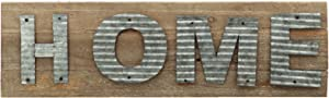 Parisloft Home Reclaimed Barn Wood Plank with Galvanized Metal Word Wall Decor Plaque Sign 24 x 7 x 1.2 Inches(Home)