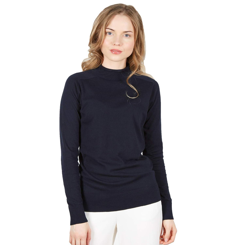 Brunella Gori Maglia Lupetto Donna a Maniche Lunghe e Collo Alto in 100/% Cotone Pima Color Navy