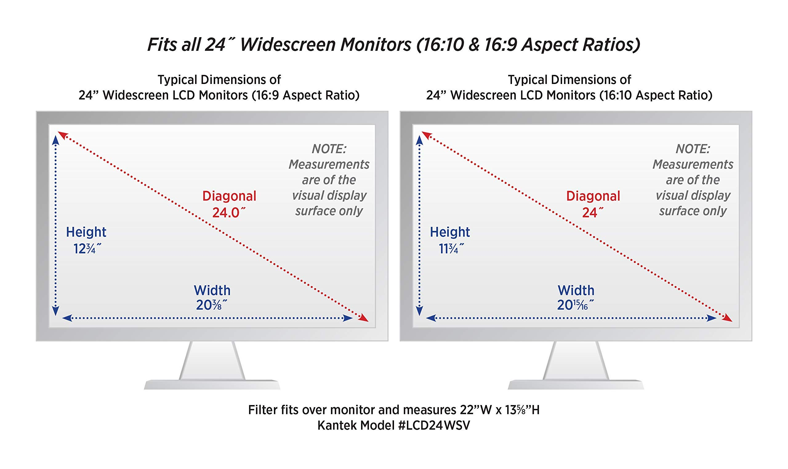 Kantek LCD Protect Deluxe Privacy Filter for 24-Inch Widescreen Monitors (16:10 and 16:9 Aspect Ratios) (LCD24WSV) (Renewed) by Kantek (Image #1)