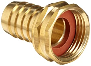 "Anderson Metals Brass Garden Hose Swivel Fitting, Connector, 1/2"" Barb x 3/4"" Female Hose"