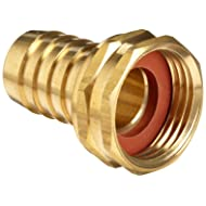 """Anderson Metals Brass Garden Hose Swivel Fitting, Connector, 1/2"""" Barb x 3/4"""" Female Hose"""