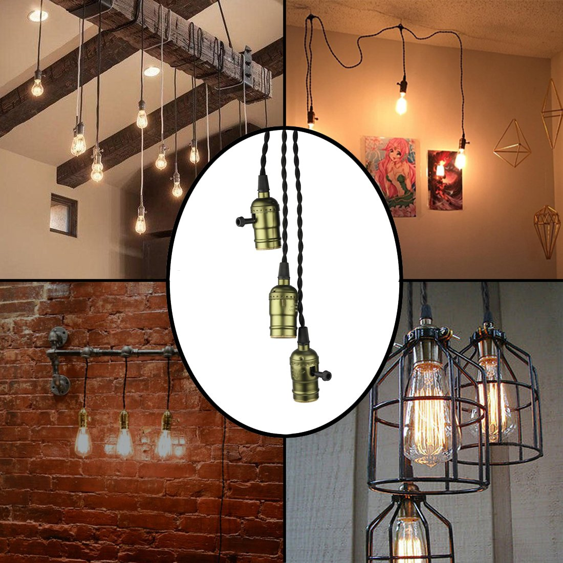 Vintage Triple Light Sockets Pendant Hanging Light Cord Kit Plug-in Light Fixture with On/Off Switch E26/E27 Base Retro Twisted Black Textile Cord for Industrial Light Fixture in Basement, Bedroom by Seaside village (Image #4)