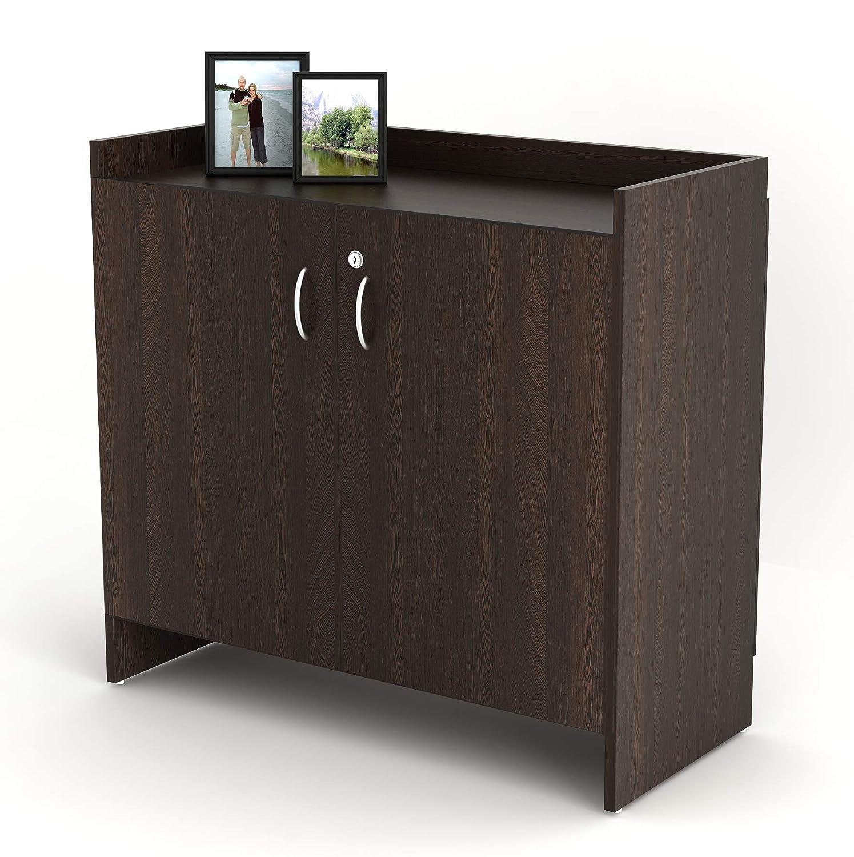 Bluewud Brooklayn Engineered Wood Shoe Rack Cabinet Stand  2 Doors, 16 20 Pairs, Wenge