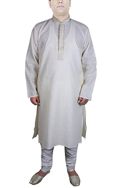 5445f3c3dc Camisa india pijama color blanquecino manga larga algodón vestidos hombre  casual  Amazon.es  Ropa y accesorios