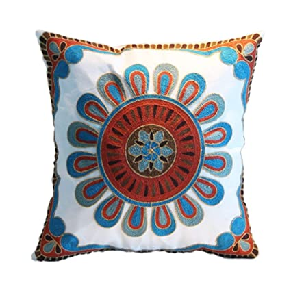 Suzani Embroidered Indian Handmade Cushion Cover Ethnic Pillow Cover Case Sham