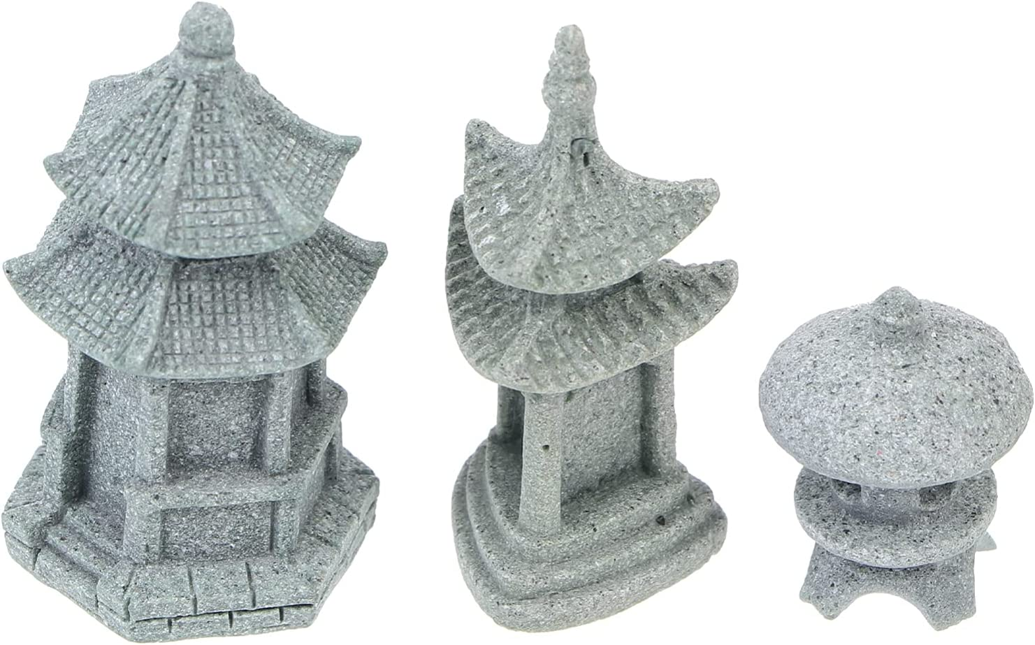 Happyyami 3Pcs Mini Pagoda Statue Japanese Style Pagoda Lantern Mini Fairy Decor for Garden Patio Micro Landscape Yard Bonsai Decoration