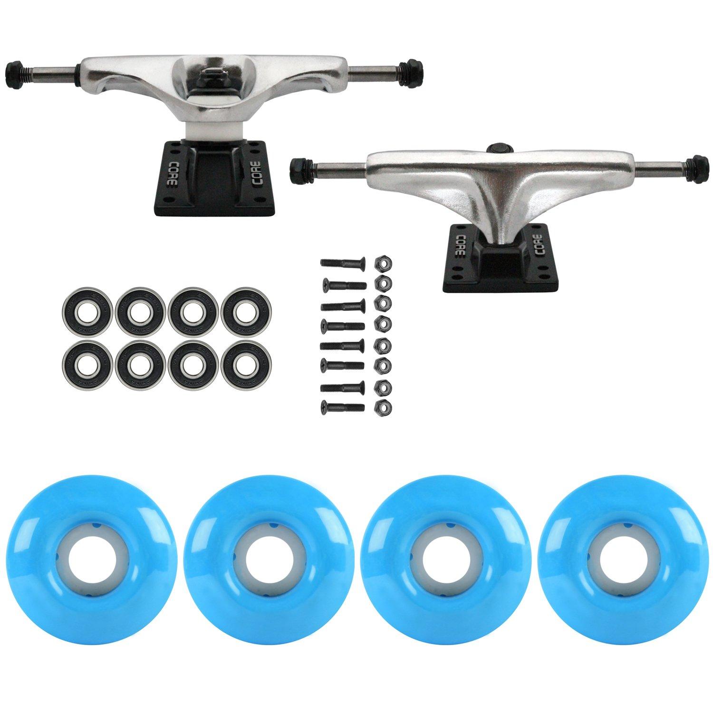 スケートボードパッケージCoreシルバー5.25 Trucks 52 MmシアンブルーABEC 7 Bearings   B01IFAENO0