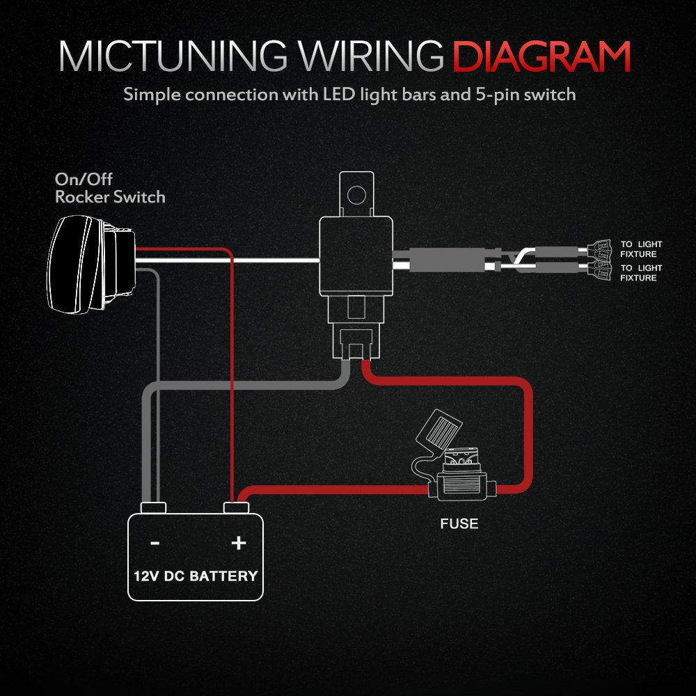 71JAQTnu 4L._SL1000_ amazon com mictuning hd 12 gauge 600w led light bar wiring wiring diagram for 5 pin rocker switch at n-0.co