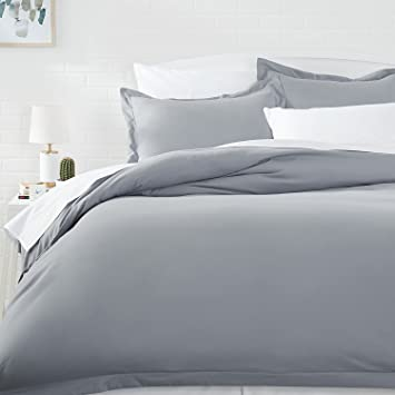 AmazonBasics Microfiber Duvet Cover Set - King, Dark Grey