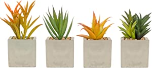 Artificial Succulents – Set of 4 Real Touch Orange & Green Plants in Square Cement Pots for Home Decor – 2.3 inch/6cm Planters – Living Room, Kitchen, Bathroom, Office, Desk, Bedroom
