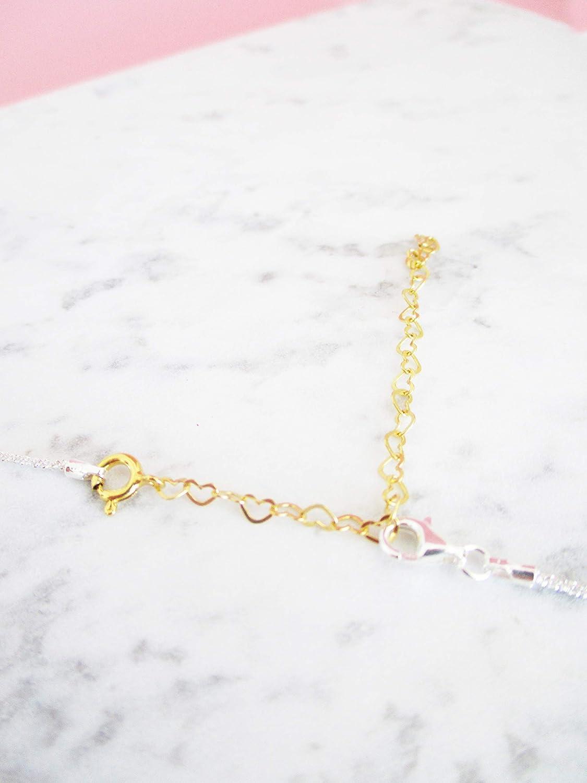 Ketten Armband Fu/ßkettchen Verl/ängerung Herz Verl/ängerungskette Herzchen 925er Sterlingsilber Gelbvergoldet Ros/évergoldet