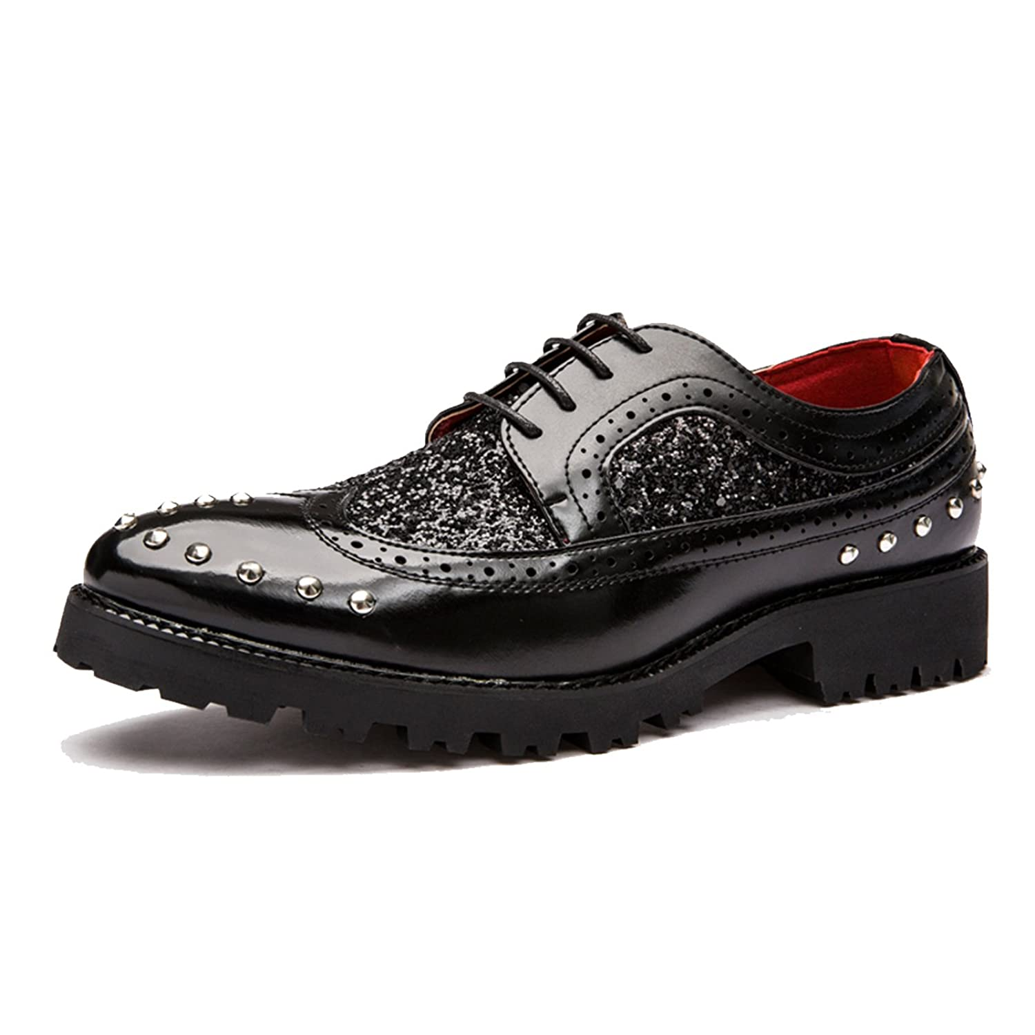 Men's Heighten Sequins Rivet Thick Sole Patent Leather Loafers Shoe