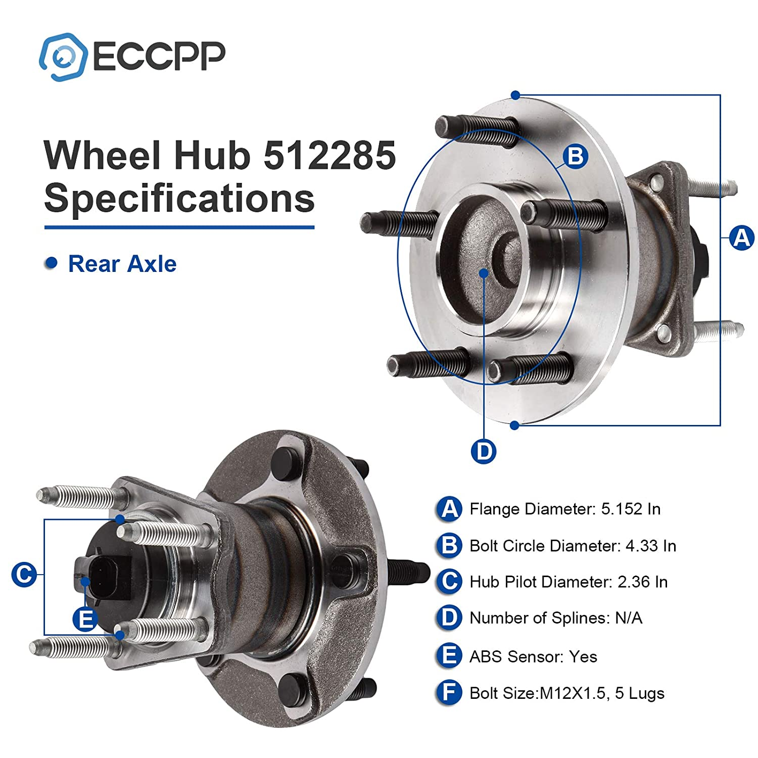ECCPP Replacement for Pair of 2 New Complete Rear Wheel Hub Bearing Assembly 5 Lugs w//ABS for 2005-2007 Pontiac Chevy 512285 x2