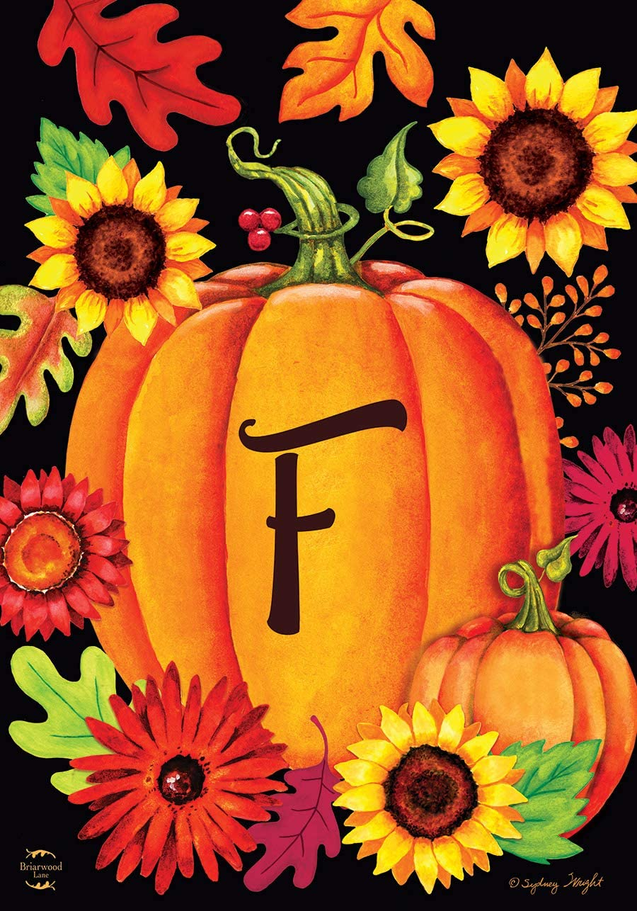 "Briarwood Lane Fall Pumpkin Monogram Letter F Garden Flag 12.5"" x 18"""