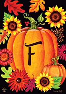 "Briarwood Lane Fall Pumpkin Monogram Letter F Garden Flag 12.5"" x 18"""