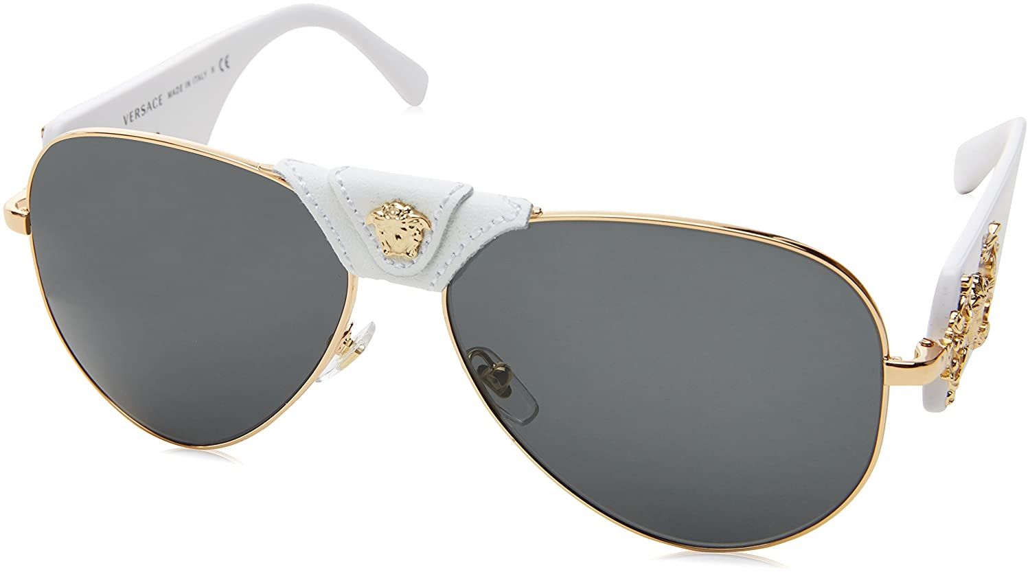 f3bb12f0725b Amazon.com  Versace Women s 0VE2150Q 1341 87 Medusa Aviator Sunglasses