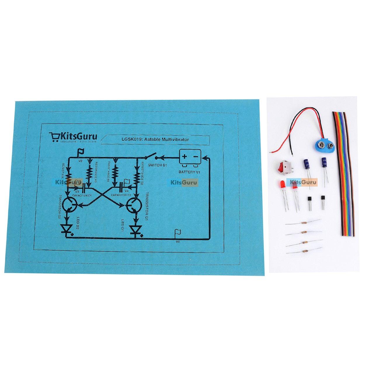 Diy Kit Astable Multivibrator Using Transistor Lgsk019 Physics Circuit Model