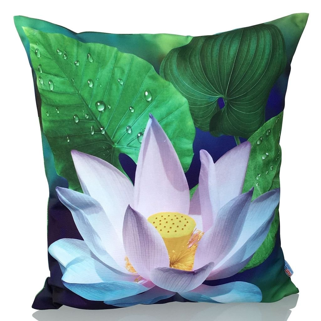 Cojín Decorativo Sunburst Outdoor Living LOTUS FLOWER 50cm x 50cm (Con Borde) Funda Cojín para Sillón, Sofá, Cama o Patio - Solo Funda, Sin Relleno: ...