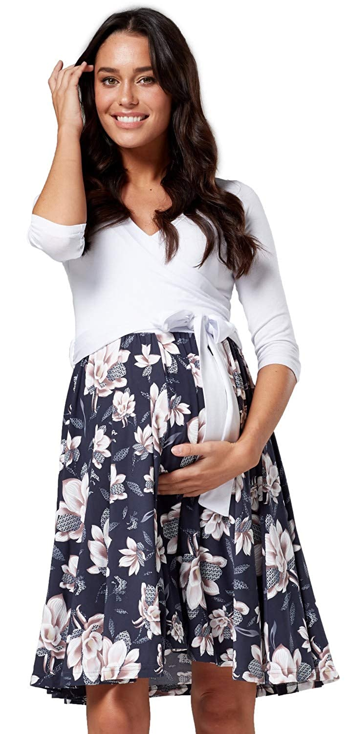 HAPPY MAMA Womens Maternity Skater Dress 3//4 Sleeves 525p