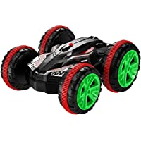 POBO K205 RC Car Amphibious Waterproof Stunt Remote Vehicle 2.4GHz 4WD Off Road Radio Controlled Truck, Double-Side, 360 Degree Spins and Flips, Red
