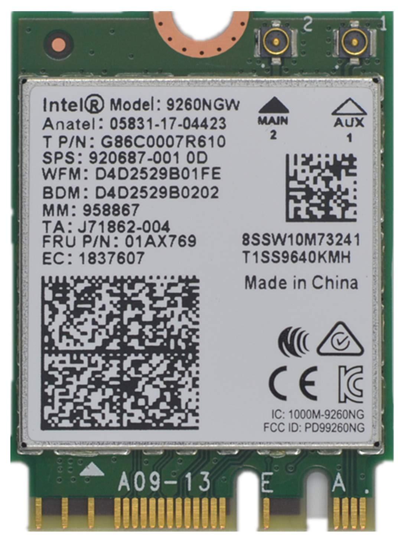 Tarjeta Wifi 9260ngw Para Intel, Banda Dual Inalambrica- 9260ac Ac 9260 Ngff Tarjeta Wifi M.2 Ngff 2.4 / 5ghz (160mhz) B