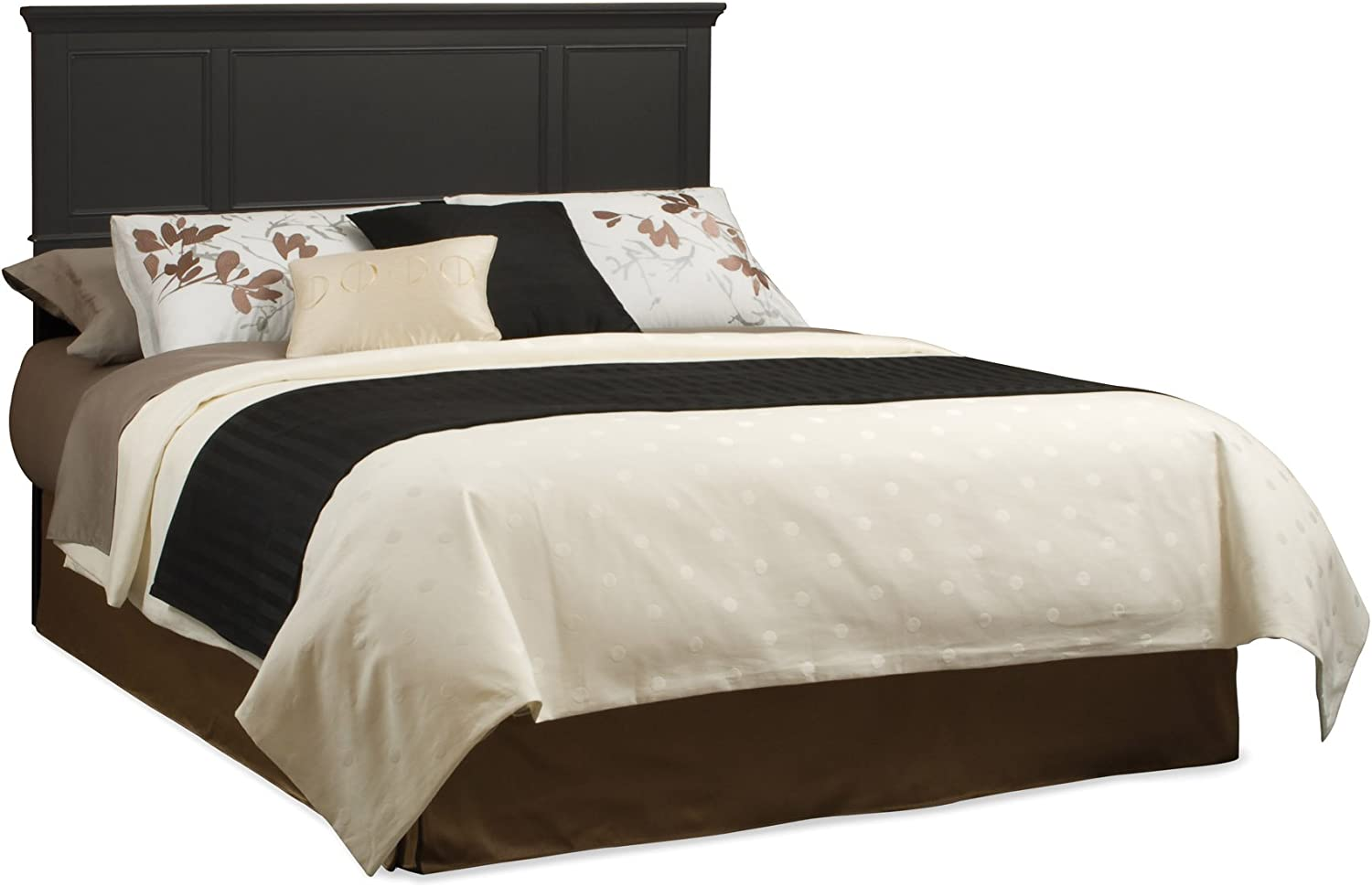 Home Styles Bedford King Bed Headboard, in Black Finish Constructed from Hardwood Solids with Raised Panel Design