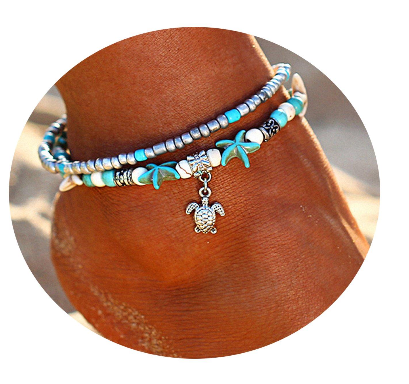 Women Turquoise Starfish Turtle Multiple Layered Boho Style Adjustable Anklet