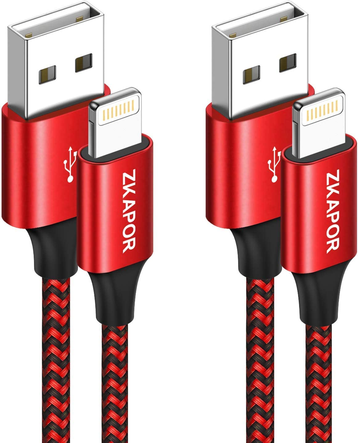 ZKAPOR Cable iPhone Cable Lightning [2Pack 2M] Cargador iPhone Carga Rápida Trenzado de Nylon Compatible con Apple iPhone 11 Pro XS MAX XR X 8 Plus 7 Plus 6S 6 Plus 5 5S 5C SE, iPad-Rojo