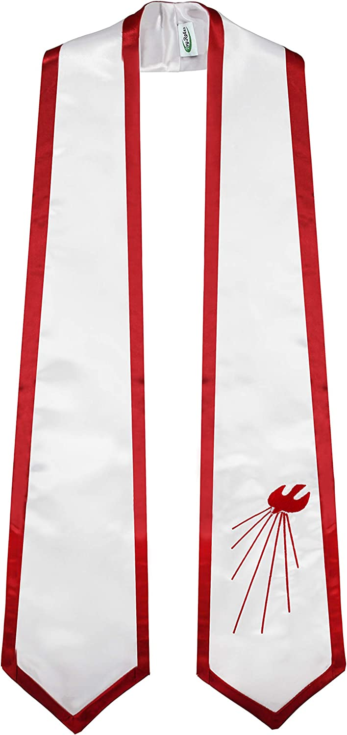 IvyRobes Descending Dove Confirmation Stoles White End with Red Trim: Clothing