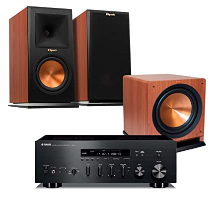 Yamaha R S500BL Natural Sound Stereo Receiver With Klipsch RP 160M Bookshelf Speakers