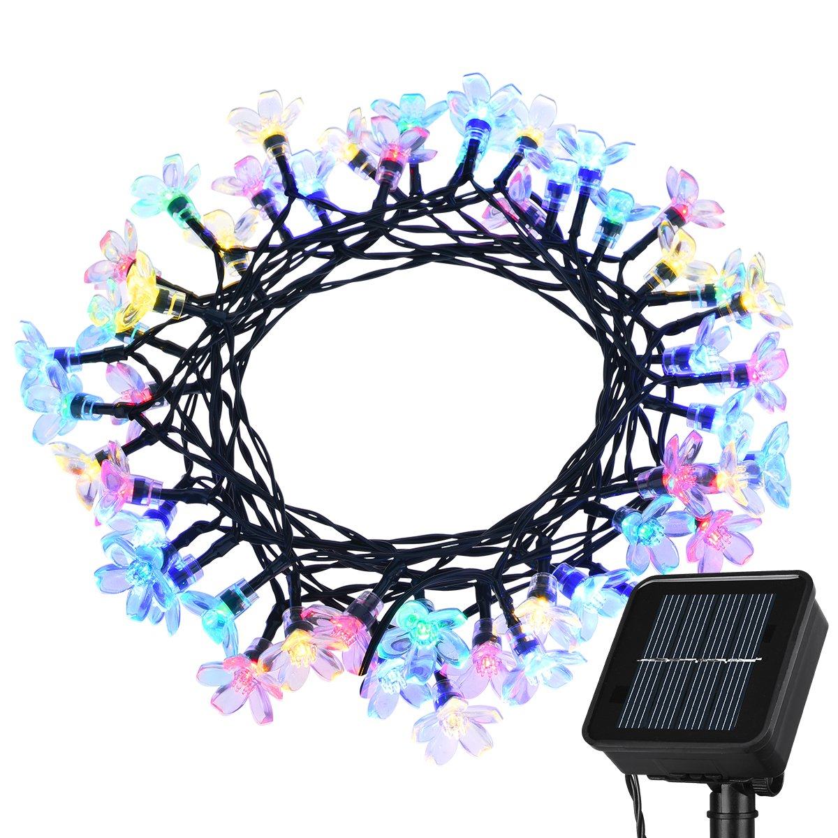 Litom Solar Outdoor String Lights 50 LED Solar Multi-Color Blossom Decorative... Chickadee ...