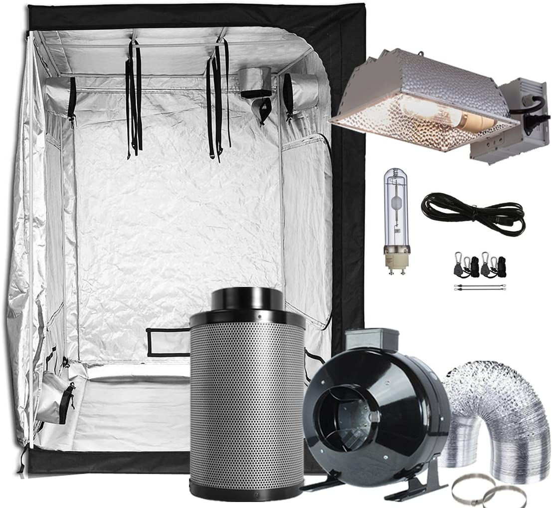 TopoGrow CMH Grow Tent Kit Complete Package 315W CMH Grow Light Kit 4 Inline Fan Filter Combo+32X32X63 Mylar Grow Tent for Indoor Plant Growing