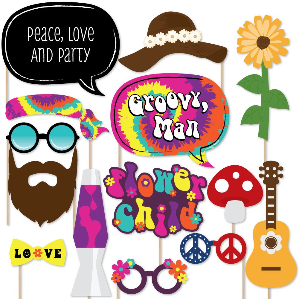 Big Dot of Happiness 60's Hippie - 1960s Groovy Party Photo Booth Props Kit - 20 Count