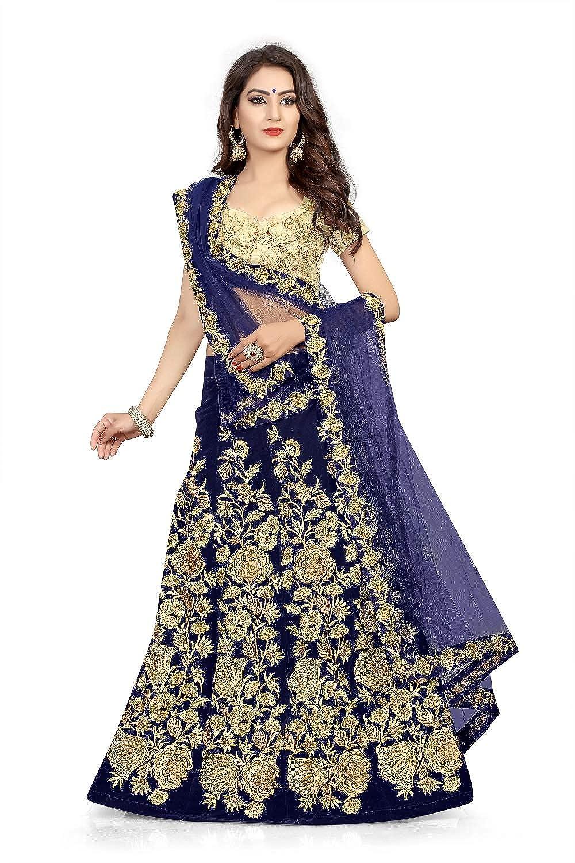 d3037289c Sandar Fab Women s Embroidered Velvet Semi Stitched Lehenga Choli (Free  Size)  Amazon.in  Clothing   Accessories