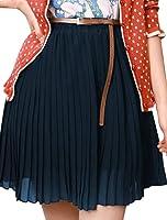 Allegra K Women Elastic Waist Chiffon Pleated Skirt High Waisted ...