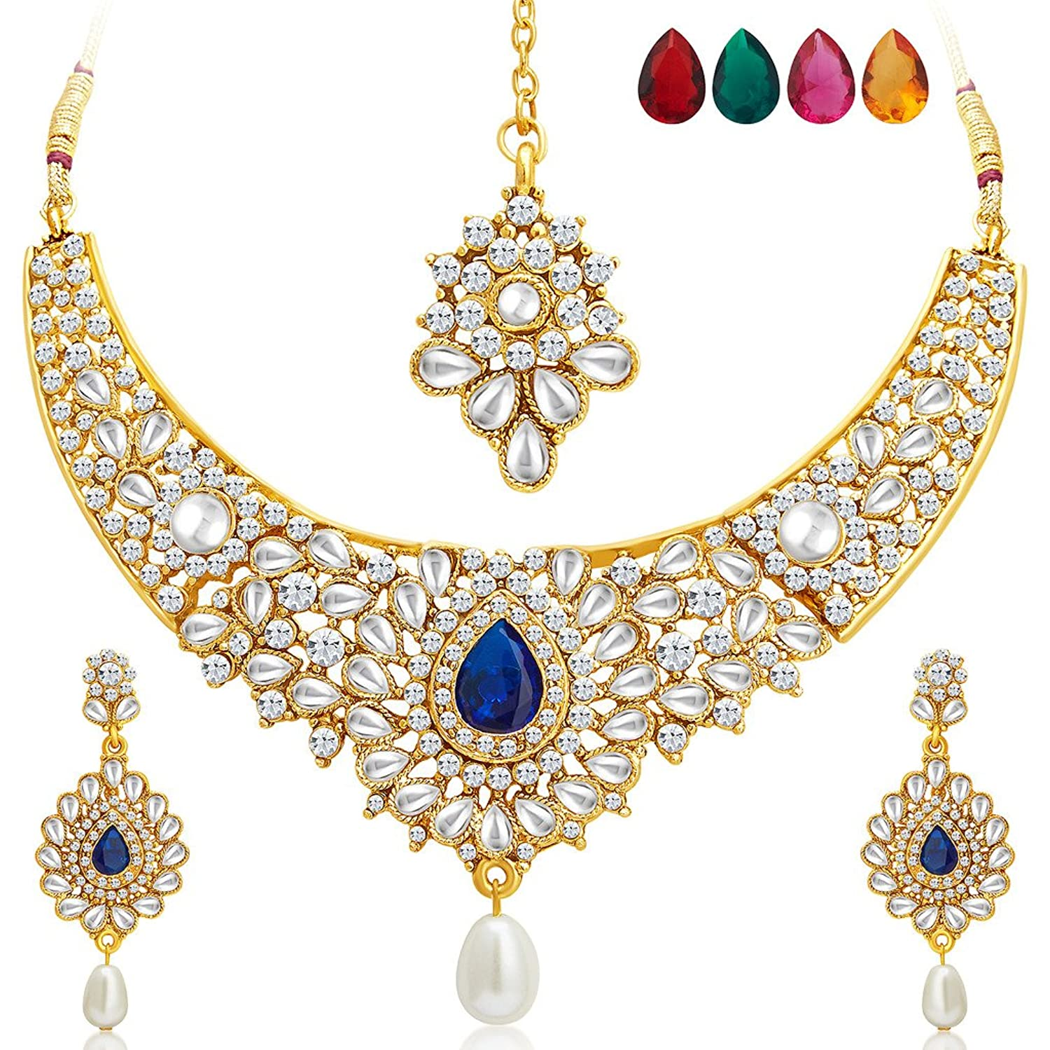 Buy Sukkhi Incredible Gold Plated AD Necklace Set with Set of 5 ...