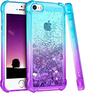 Ruky iPhone 5 5S Case, iPhone SE Case (2016), Gradient Quicksand Series Glitter Bling Flowing Liquid Floating TPU Bumper Cushion Girls Women Cute Case for iPhone 5 5S SE (Teal Purple)