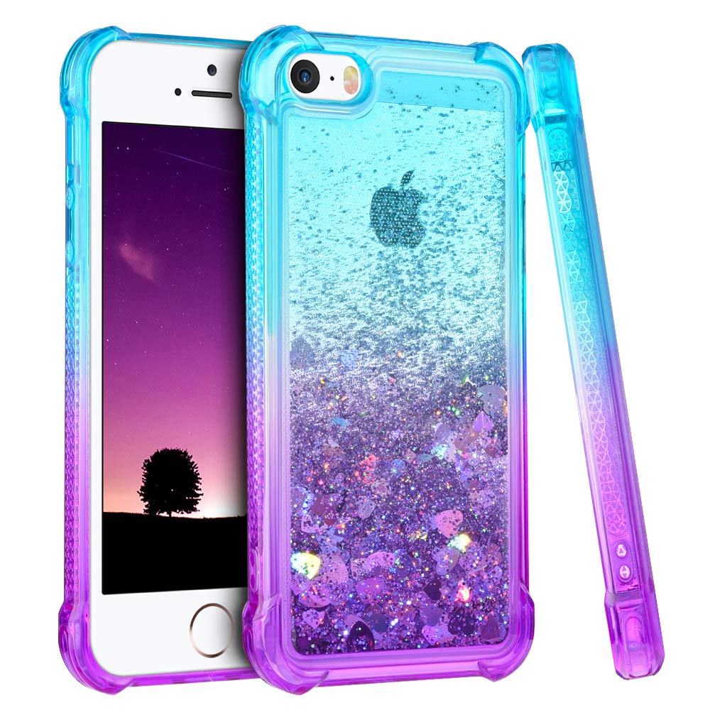 Ruky iPhone 5 5S Case, iPhone SE Case, Gradient Quicksand Series Glitter Bling Flowing Liquid Floating TPU Bumper Cushion Girls Women Cute Case for iPhone 5 5S SE (Teal Purple)