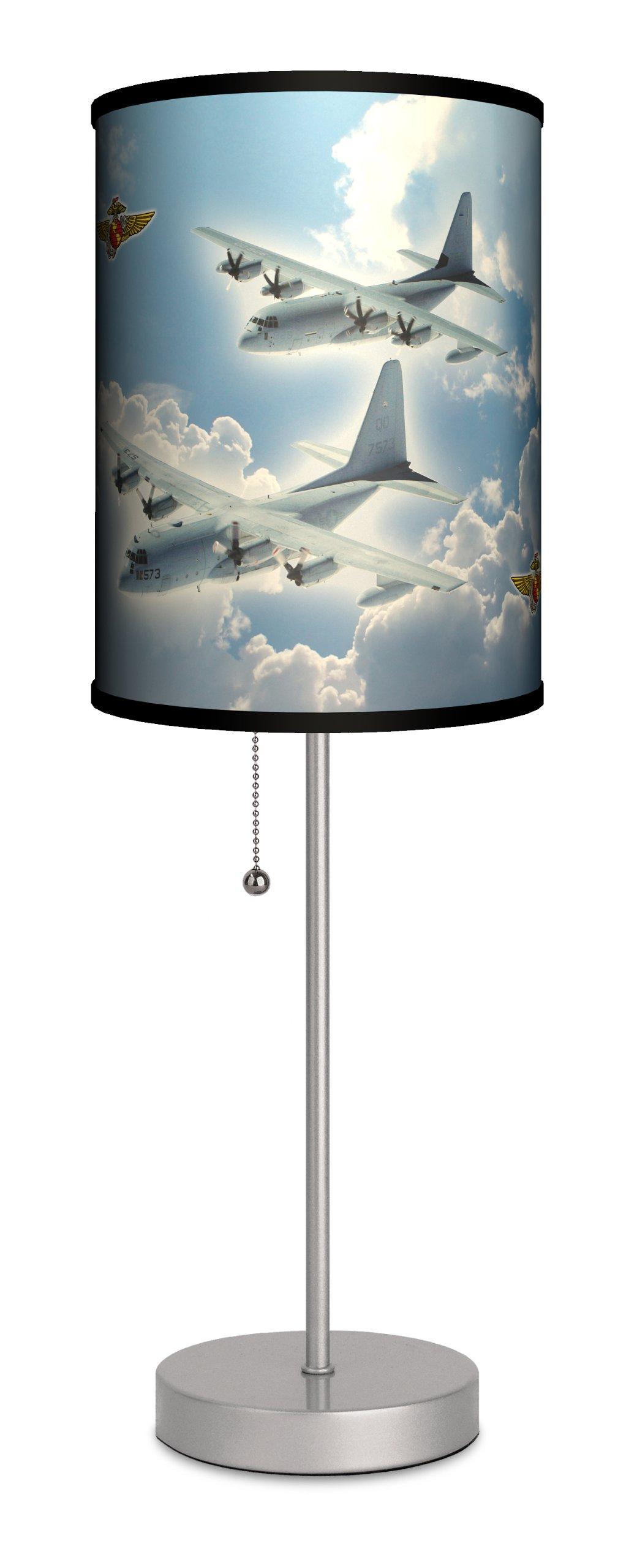 Lamp-In-A-Box SPS-TTN-C130H Transportation - C-130 Hercules Sport Silver Lamp, 20'' x 7'' x 7''
