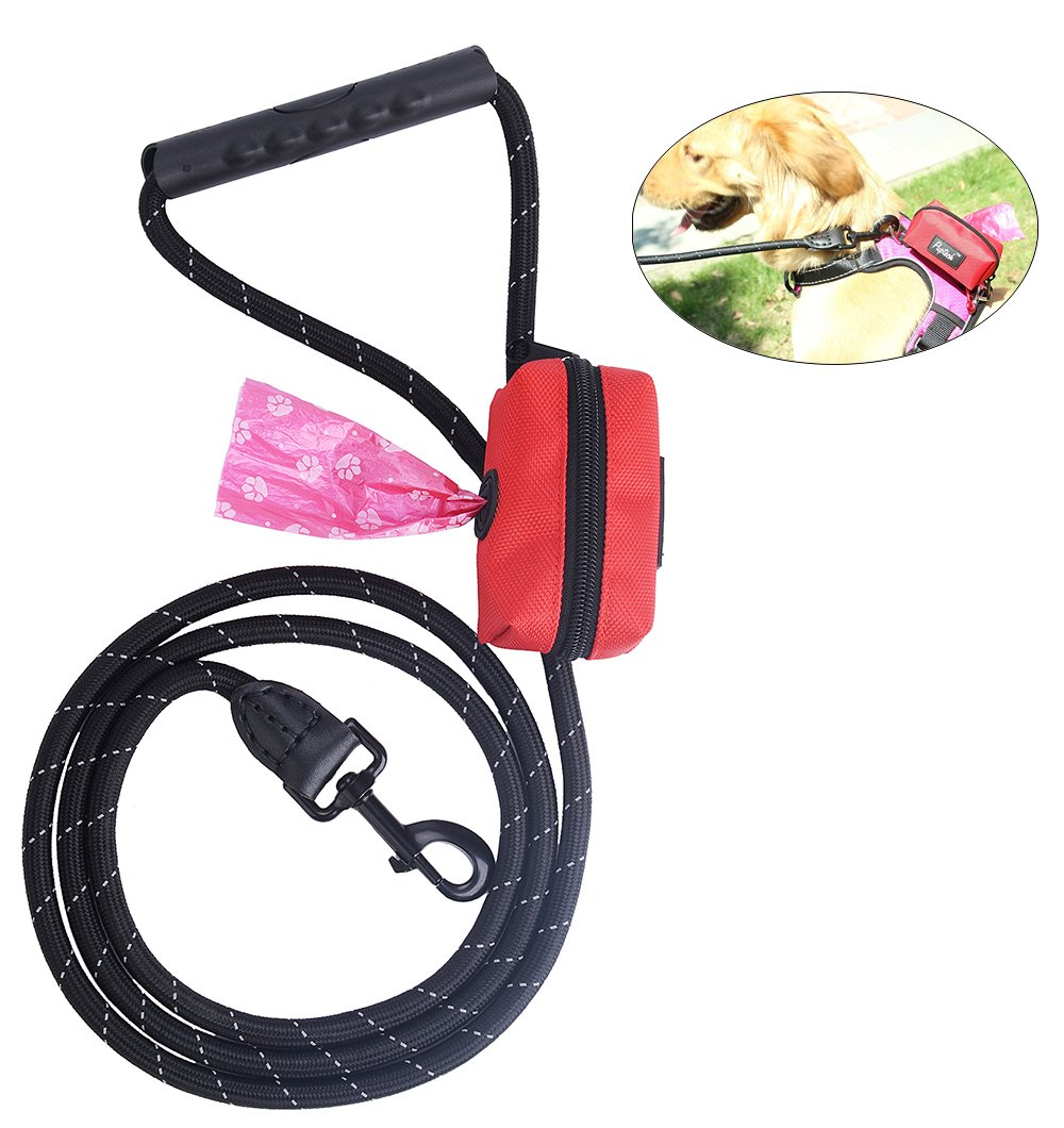 Reflective Dog Training Leash - Pet Walking Lead with Poop Bag Holder for Medium and Large dogs